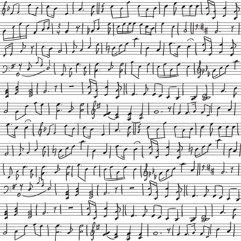 手写的音符 库存例证
