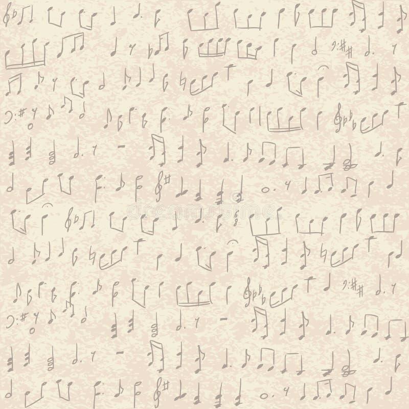 手写的音符 向量例证