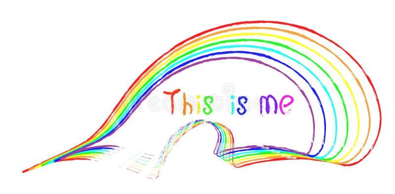 手写的题字这是我在彩虹的不同颜色 皇族释放例证