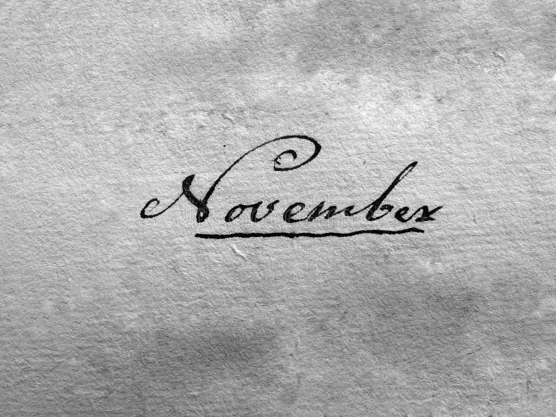 手写的11月葡萄酒 图库摄影