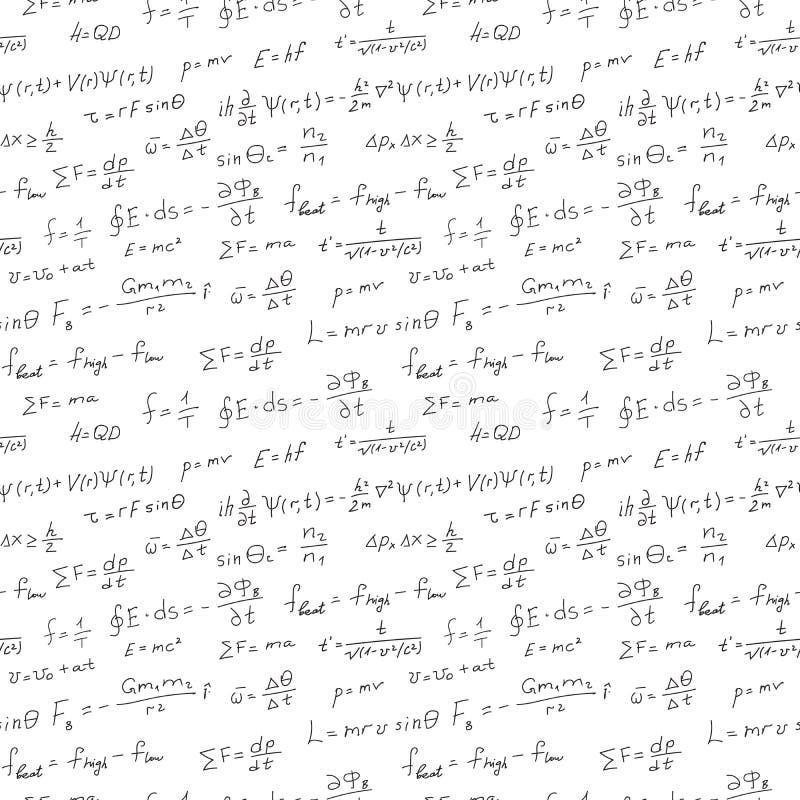 手写科学背景无缝的样式物理等式 库存例证