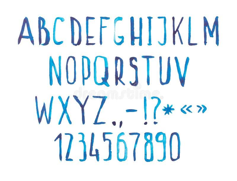 手写蓝色水彩水彩画字体的类型 皇族释放例证