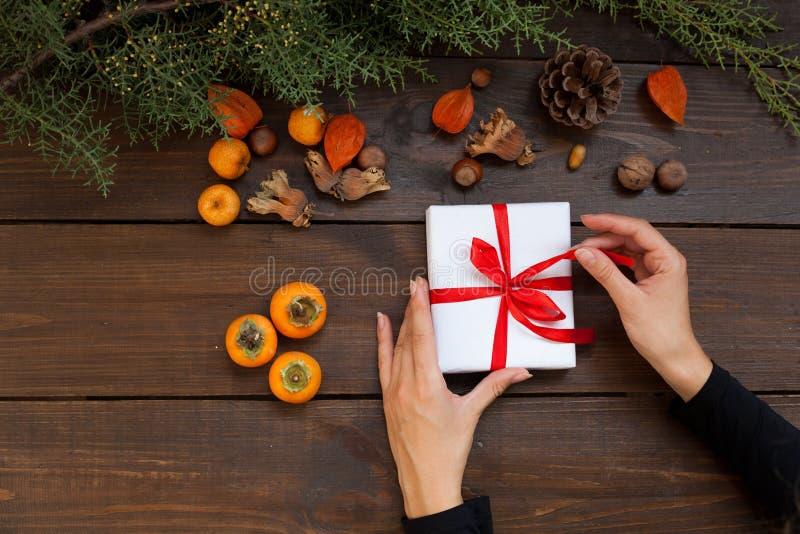 手冬天圣诞节新年在家树礼物 免版税库存图片