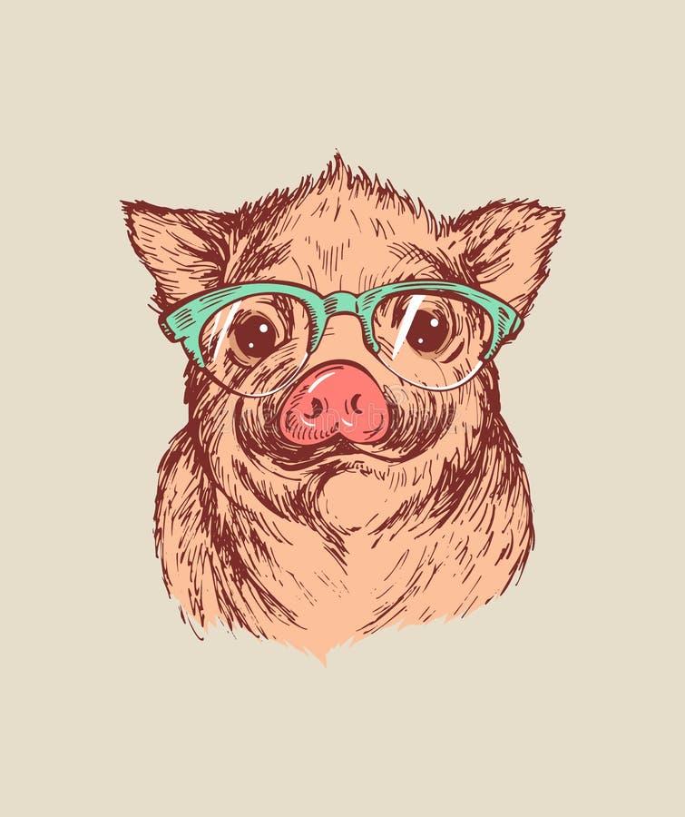 手凹道一头小的猪的画象与玻璃的 传染媒介剪影例证 农历新年的标志2019年 皇族释放例证