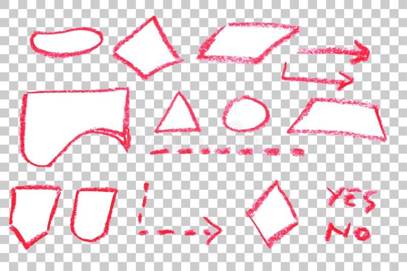 手凹道剪影,流程图符号-红色蜡笔 皇族释放例证
