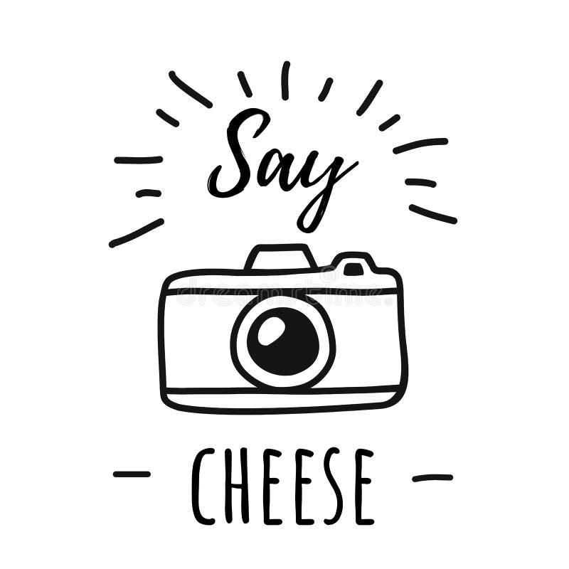 手凹道照片与词的照相机线海报说乳酪 在简单的乱画样式的传染媒介例证 皇族释放例证