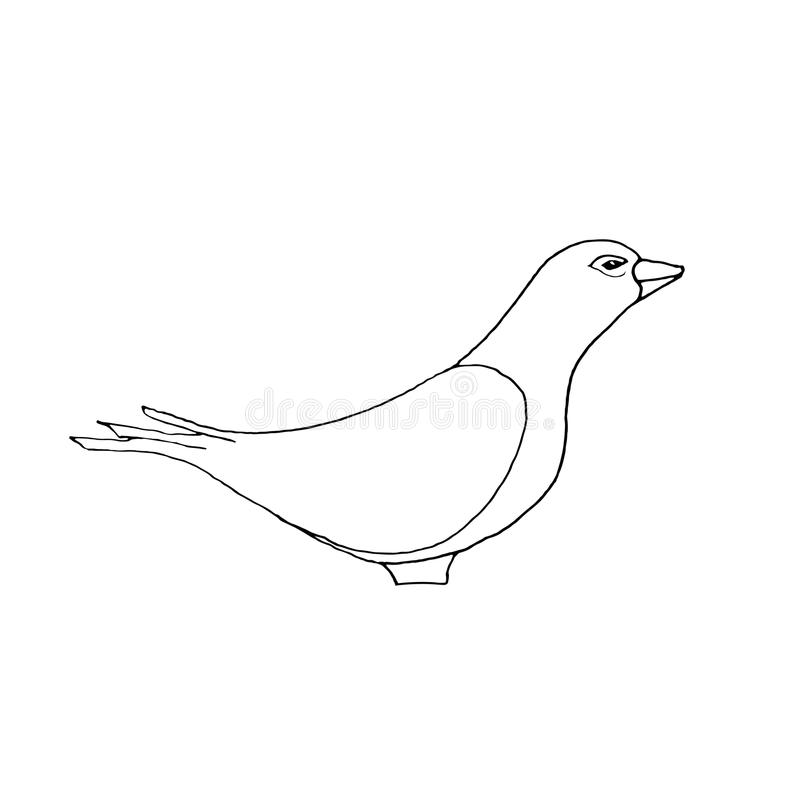 手凹道鸠在黑白色的样式剪影 库存例证