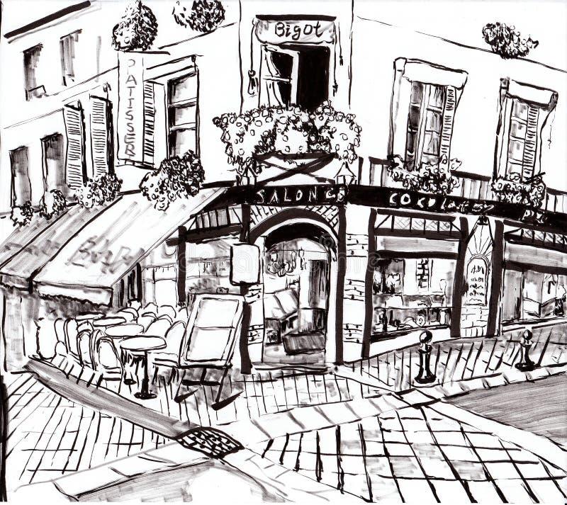 手凹道巴黎咖啡店 皇族释放例证
