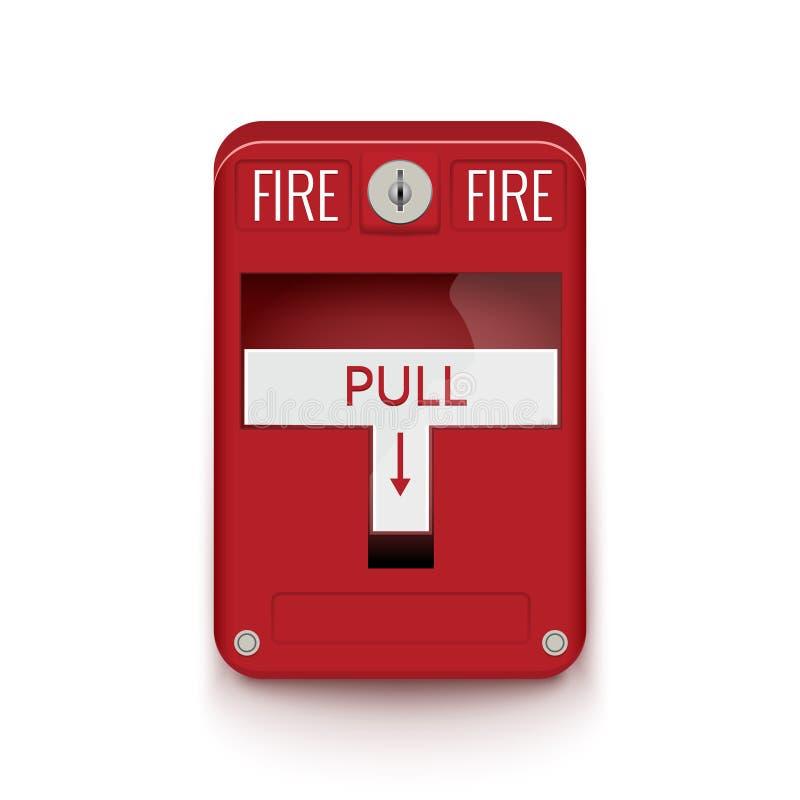 手动火警系统 拉扯危险防火安全箱子 断裂红色警报设备探测器 库存例证
