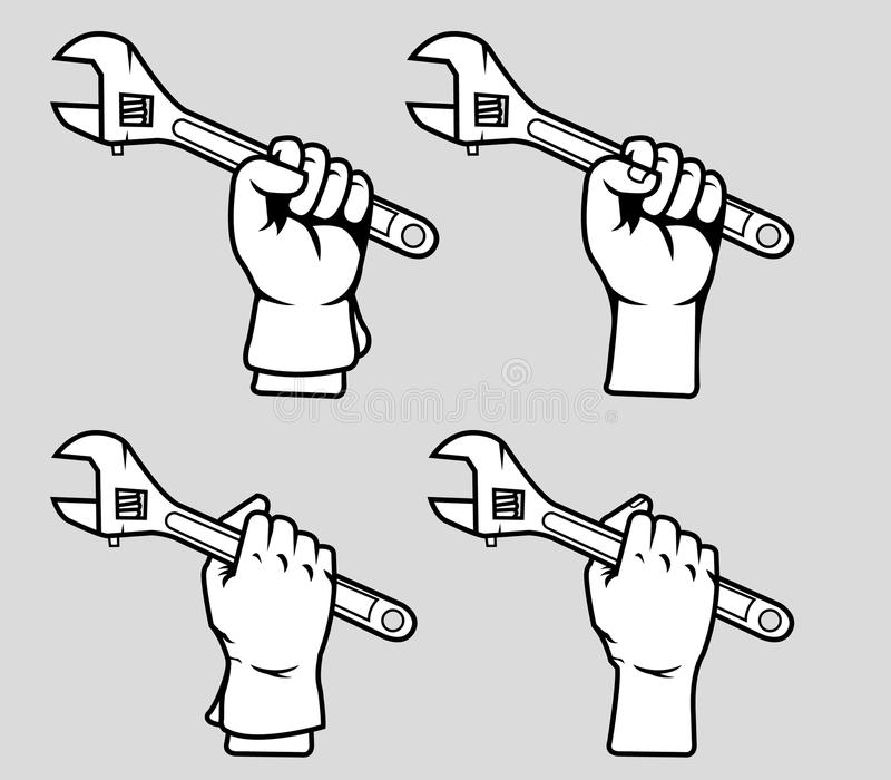 手劫掠可调扳手黑色白色 库存例证
