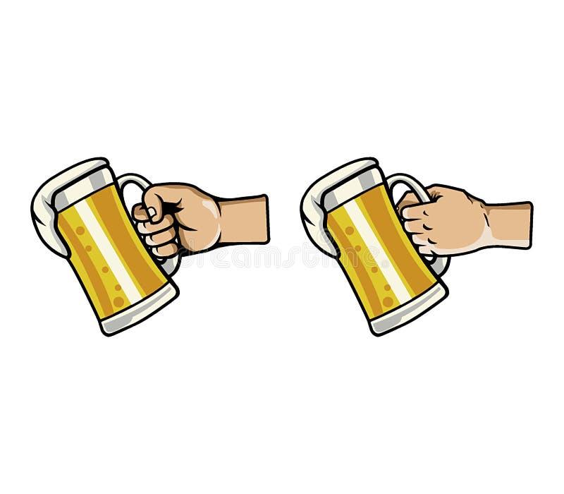 手劫掠杯啤酒 向量例证