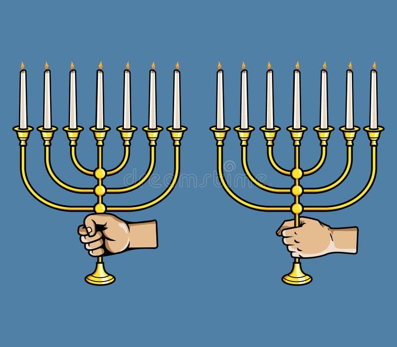 手劫掠犹太蜡烛棍子 库存例证