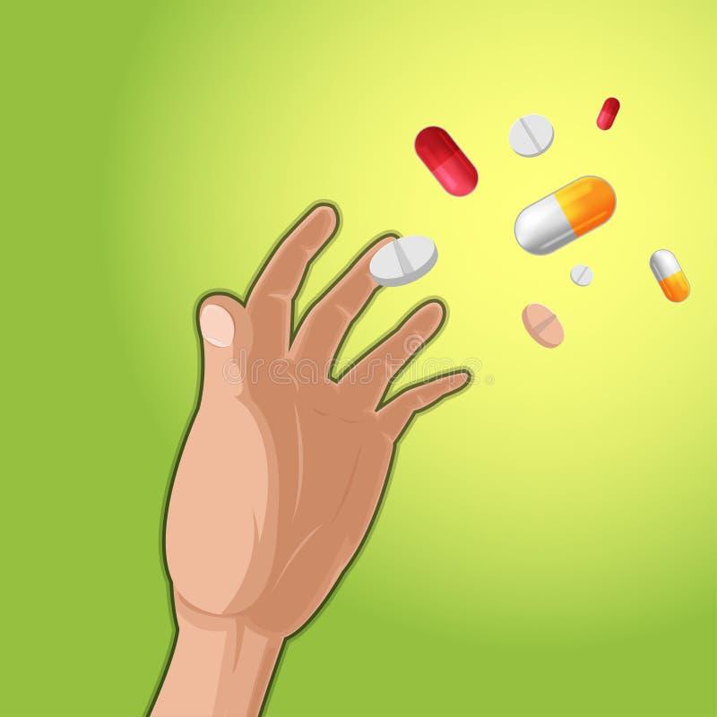 手劫掠药物医学胶囊 向量例证