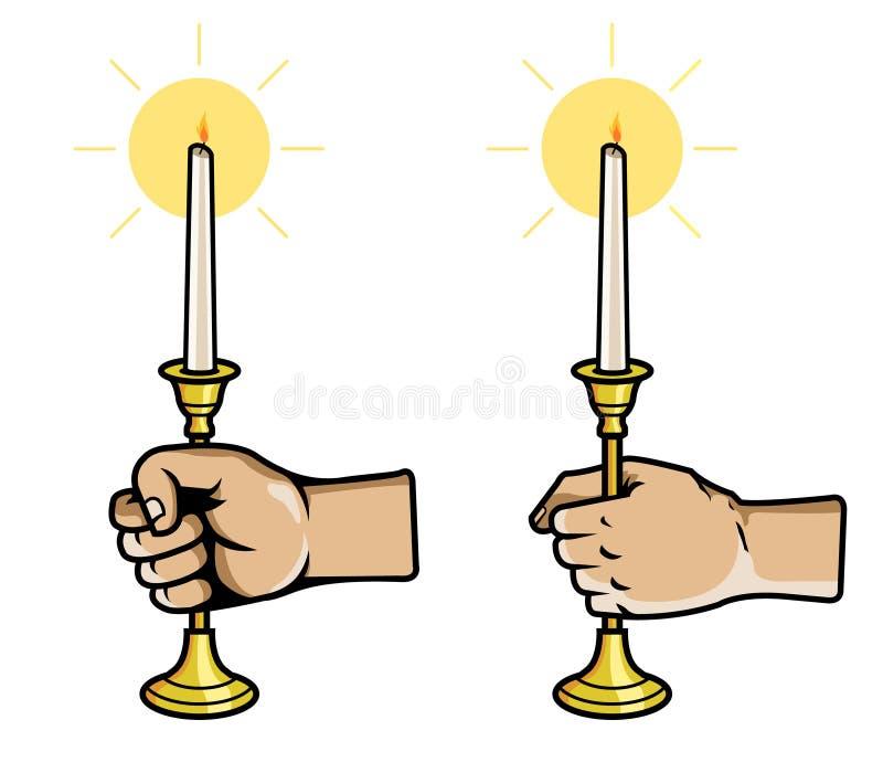 手劫掠蜡烛棍子 向量例证