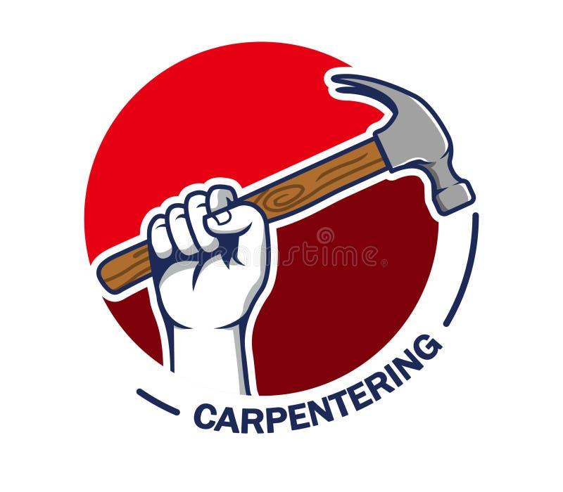 手劫掠锤子carpentering的徽章 向量例证