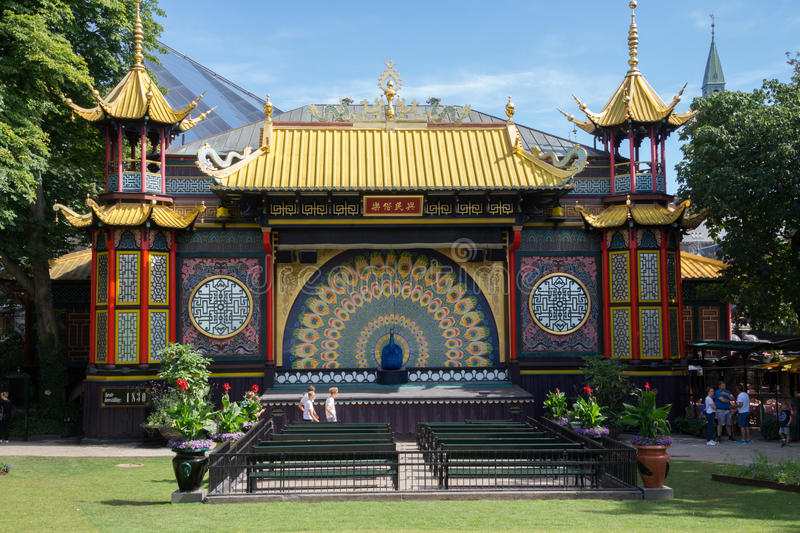 手势剧院在Tivoli庭院里,哥本哈根,丹麦 免版税库存图片