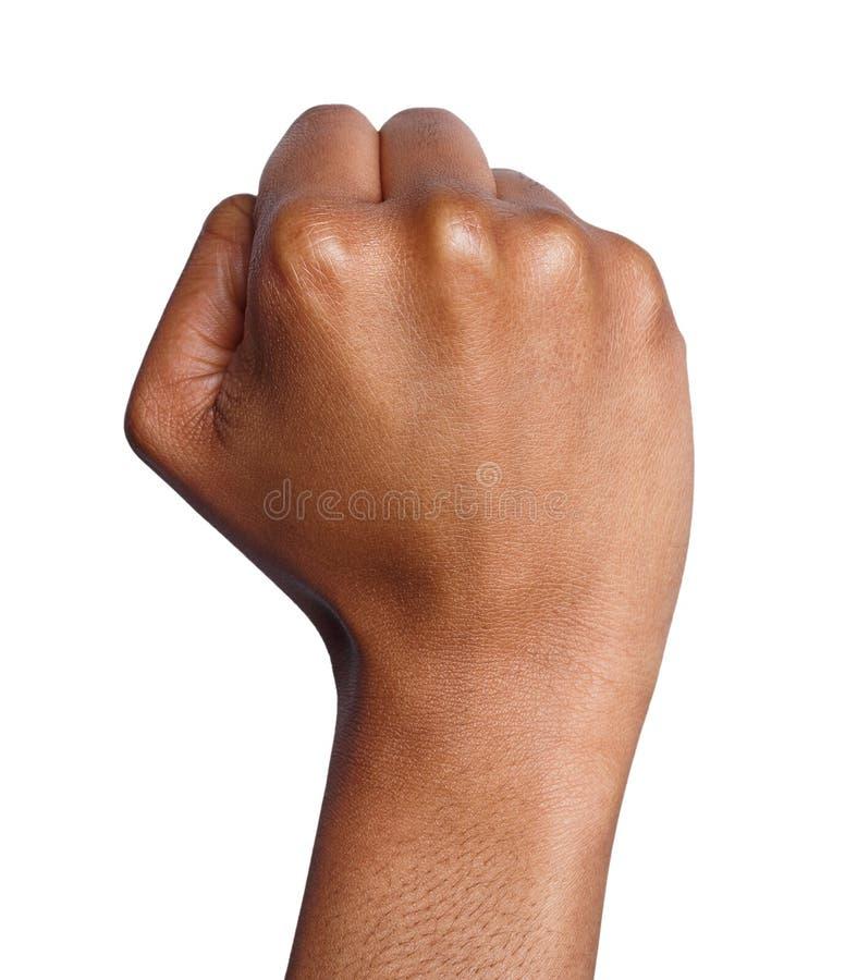 手势,妇女握紧了拳头,准备猛击 库存照片
