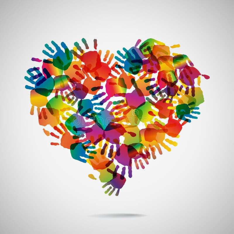 从手印刷品象的色的心脏 向量例证