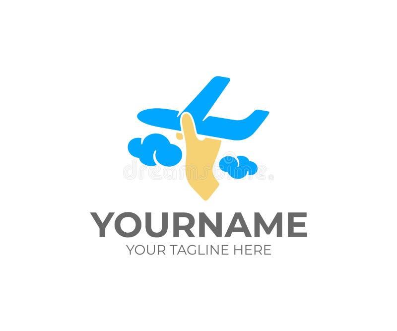 手发射在云彩的一架飞机,商标设计 飞机飞行、航空公司、旅行、保护和舒适,传染媒介设计 皇族释放例证