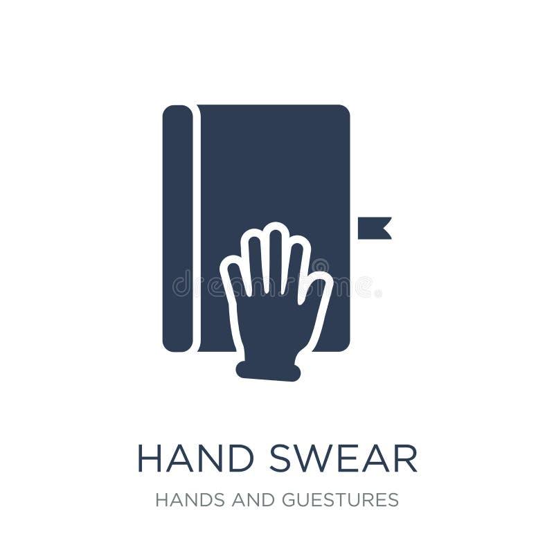 手发誓象 时髦平的传染媒介手发誓在白色bac的象 向量例证