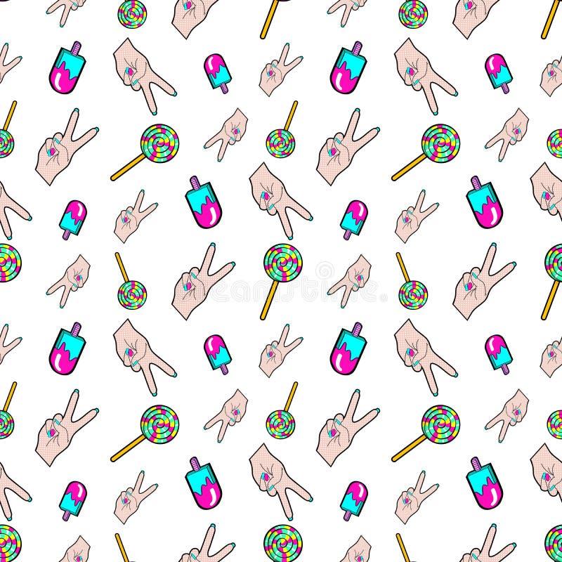 手和冰淇凌无缝的样式 在减速火箭的可笑的样式的时尚背景 向量例证