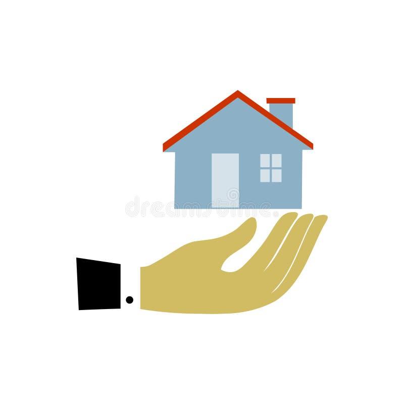 手和家 家庭象传染媒介 家庭护理概念 库存例证