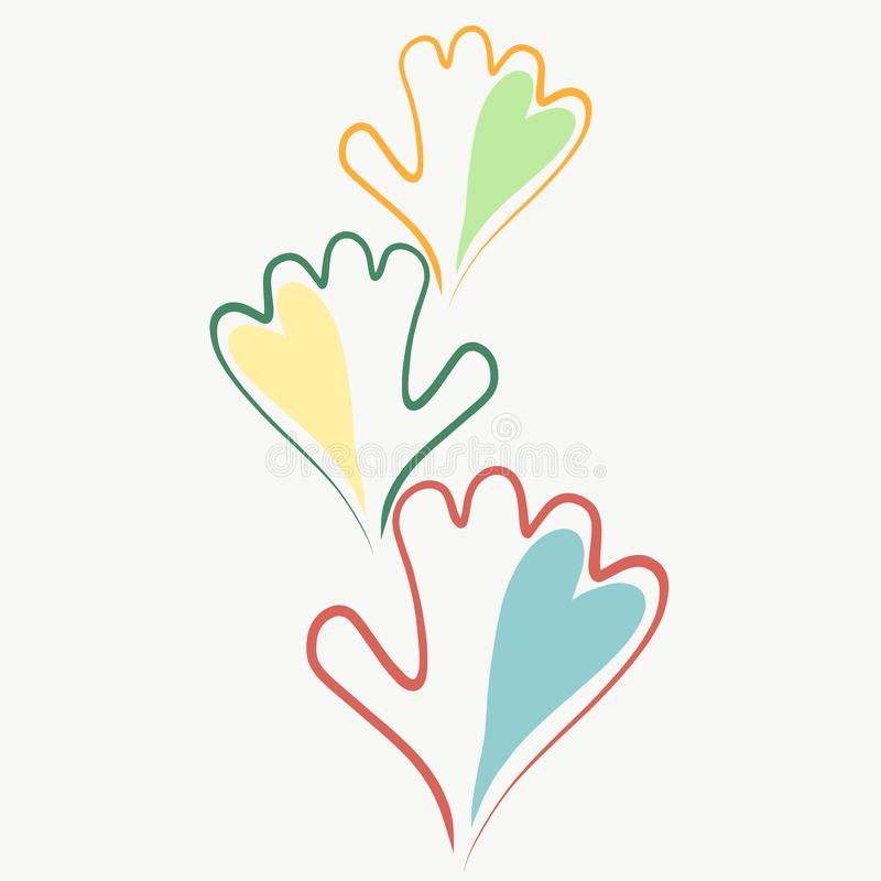 手和心脏、家庭、友谊和爱 向量例证