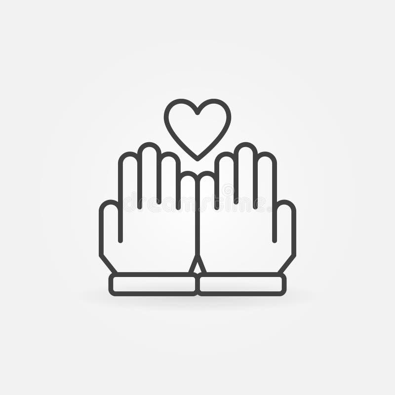 手和心脏传染媒介概述象或者商标 向量例证