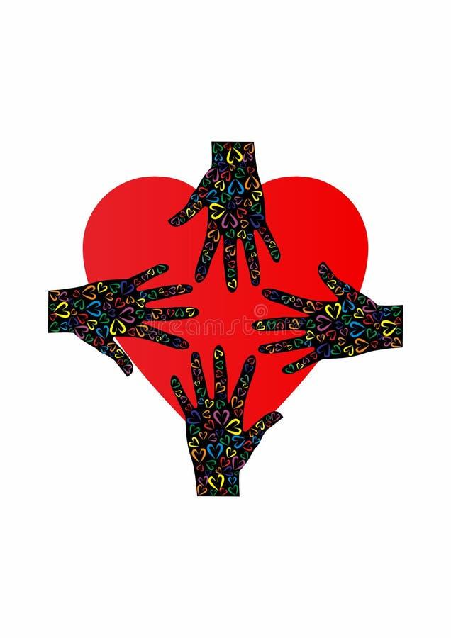 手和心脏商标、爱和支持 向量例证