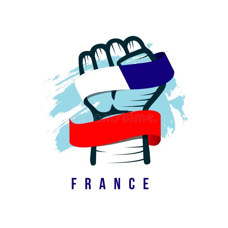 手和旗子法国传染媒介模板设计例证 向量例证