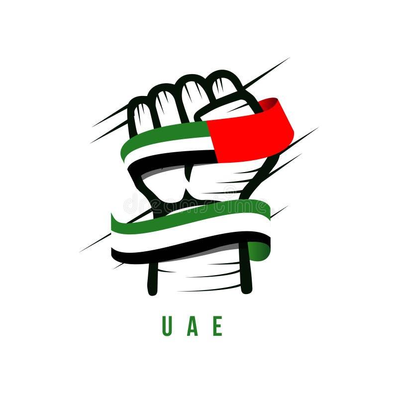 手和旗子阿拉伯联合酋长国导航模板设计例证 皇族释放例证