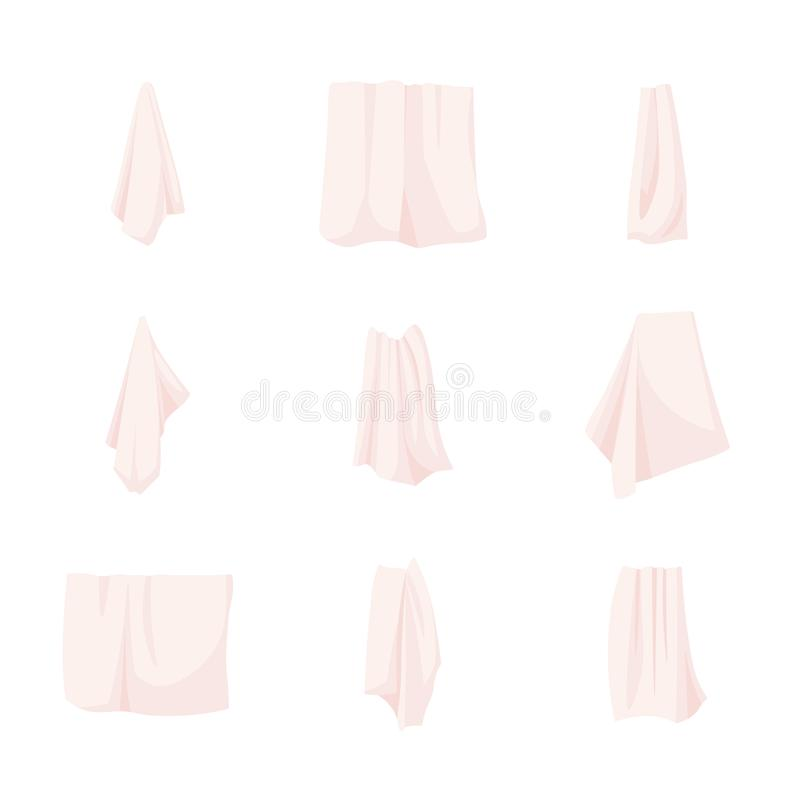 手和浴织品白色毛巾的汇集在路轨或圆环滚动了,垂悬,在堆 : 库存例证