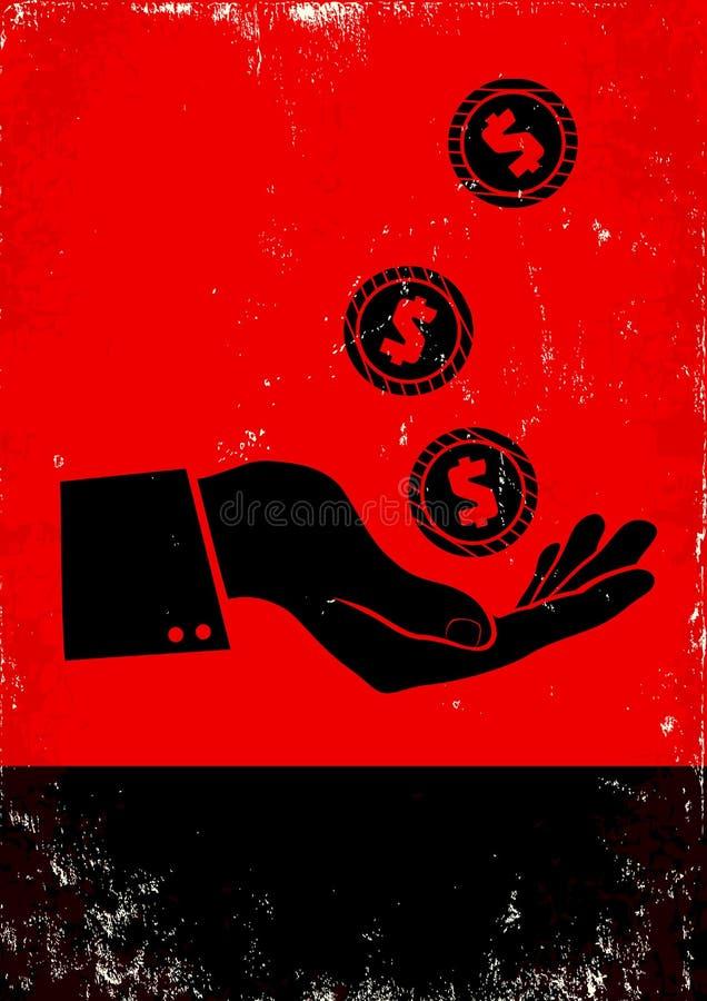 手和硬币 库存例证