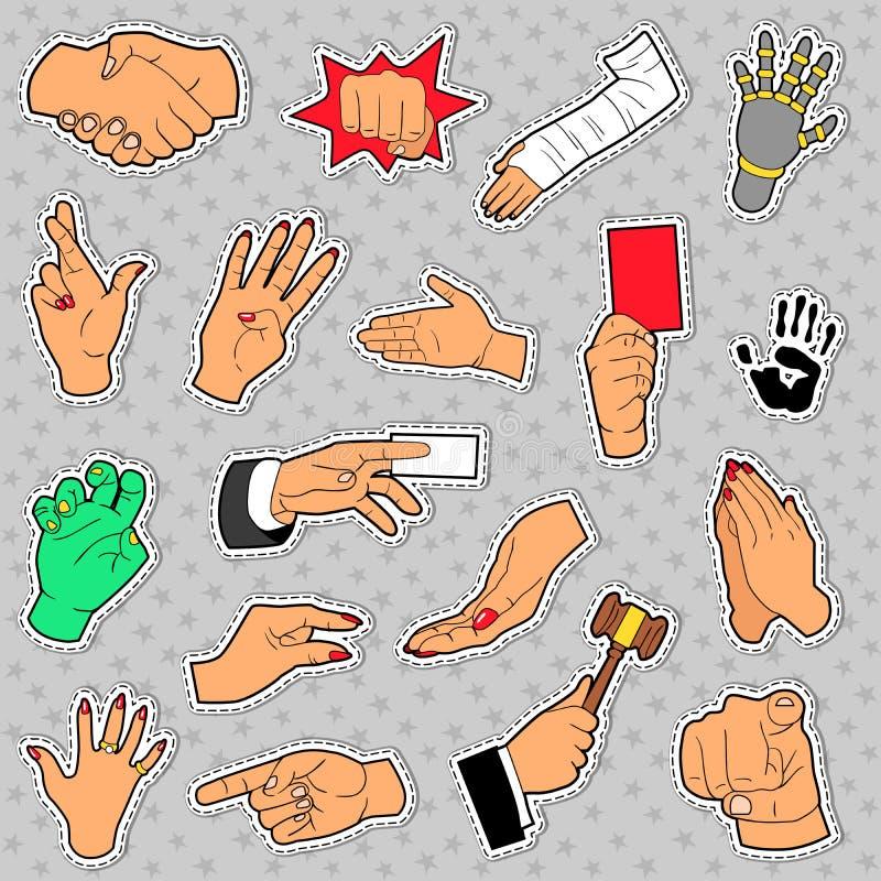 手和胳膊设置用不同的标志 皇族释放例证