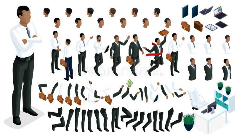 手和脚大等量姿态一个非裔美国人的商人的3d字符 创造您的字符办公室工作者 向量例证
