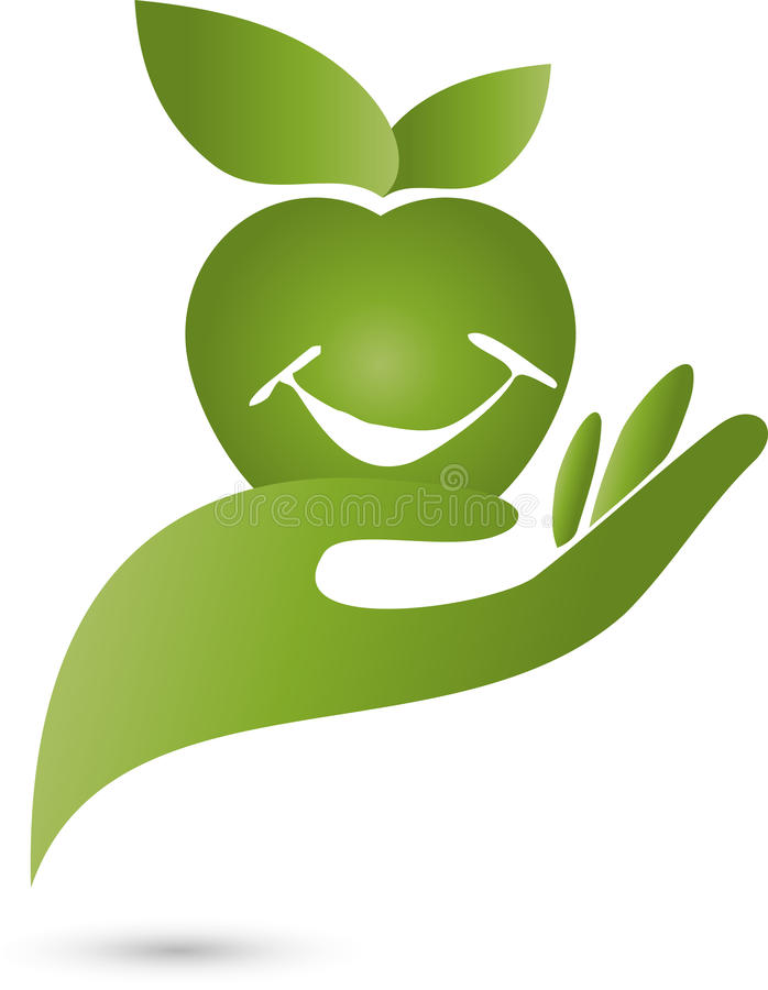 手和苹果,营养忠告,自然,商标 库存例证