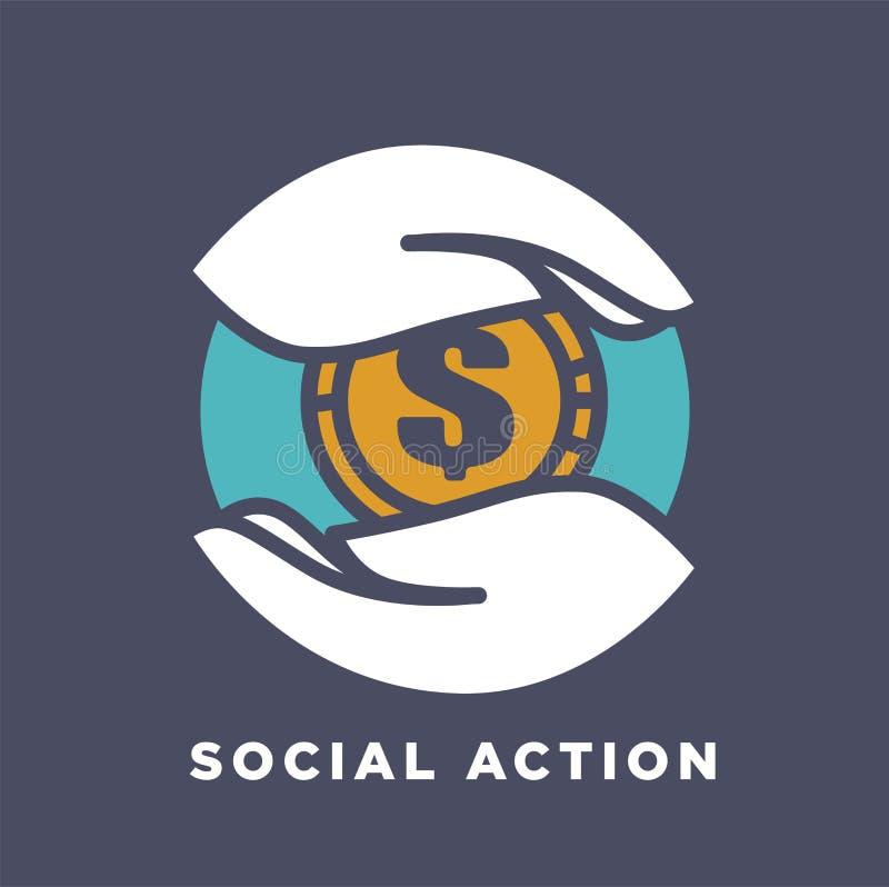 手和金钱社会捐赠和慈善资助概念传染媒介平的象 库存例证