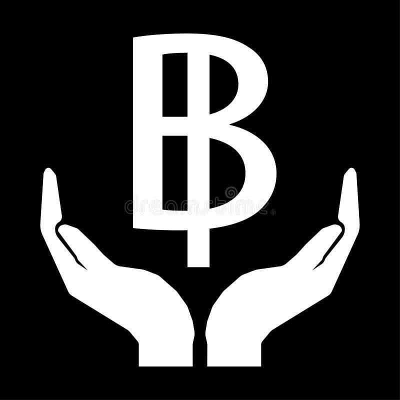 手和金钱货币泰国泰铢标志白色在黑背景 库存例证