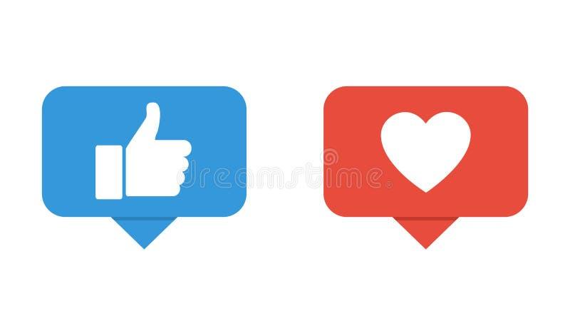 手喜欢按钮 心脏按钮象 社会网络的按钮 向量例证