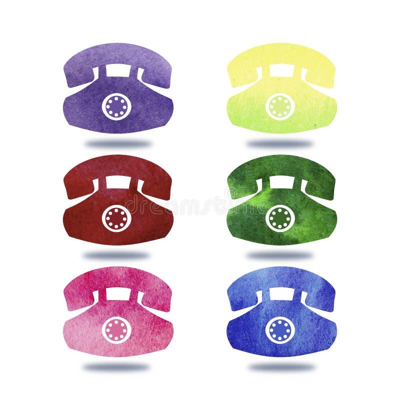 手图画五颜六色的电话的刷子例证有水彩的 图形设计有白色背景 ?? 向量例证
