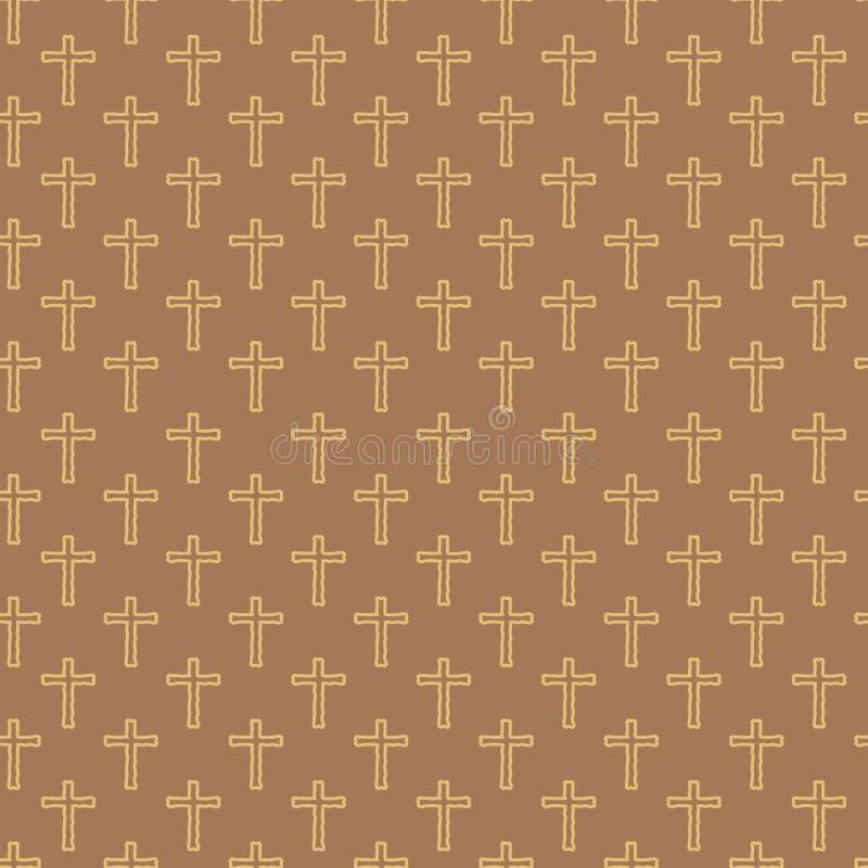 手图画十字架的传染媒介无缝的样式 向量例证