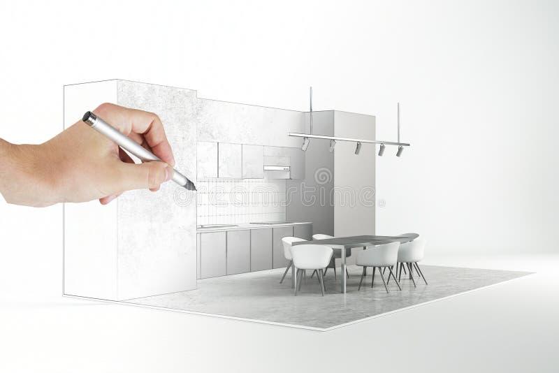 手图画厨房 向量例证