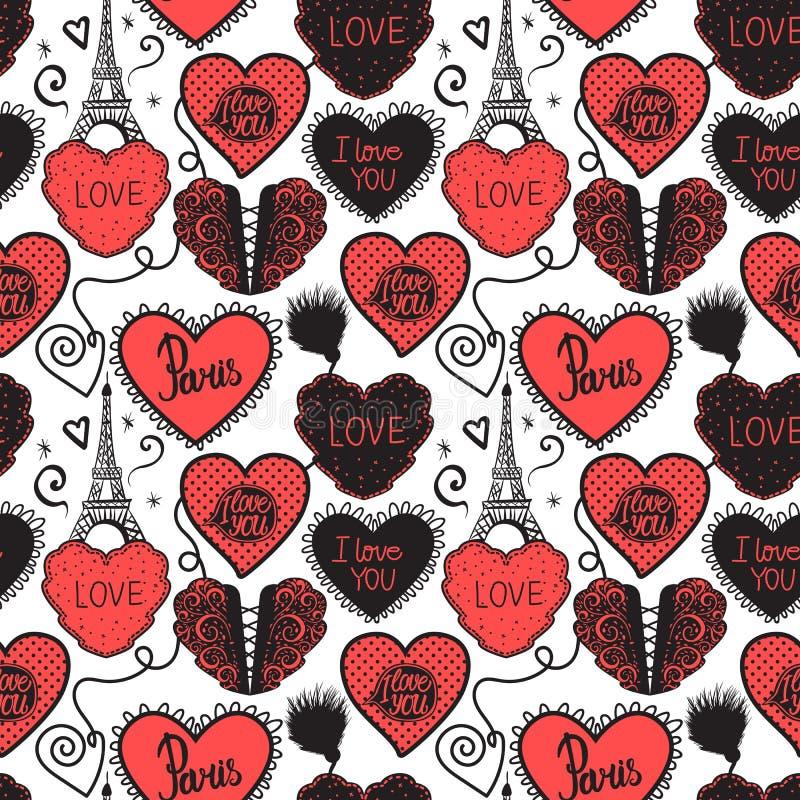 手图画爱在巴黎 降低女用贴身内衣裤和艾菲尔铁塔 在白色背景隔绝的无缝的样式红色 皇族释放例证
