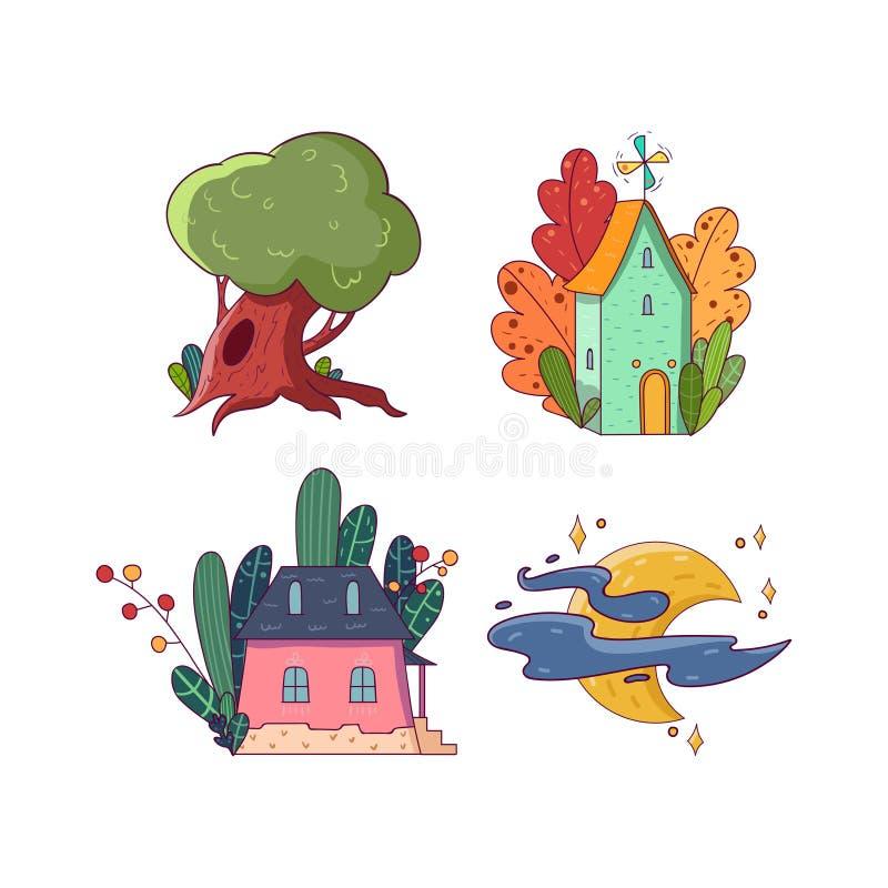 手图画神仙集合 大绿色橡木树 不同的五颜六色的植物包围的两个小的房子 明亮的月亮与 向量例证