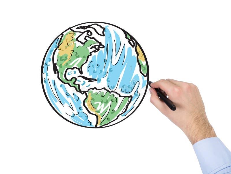 手图画世界地图 向量例证