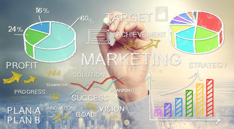 手图画企业营销概念 向量例证