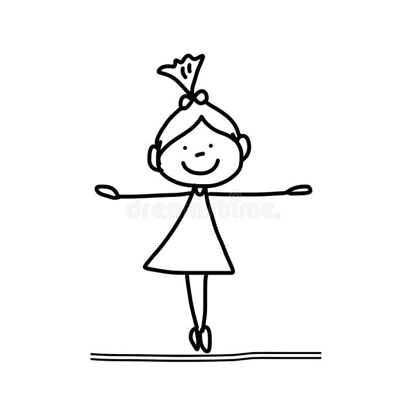 手图画动画片愉快的夫妇婚礼 库存例证