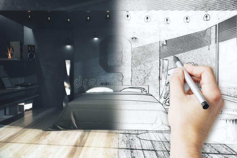 手图画卧室计划 向量例证