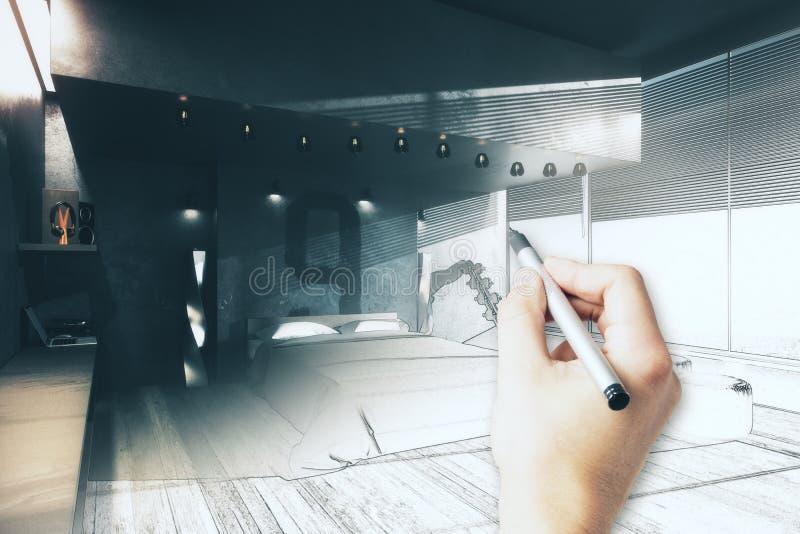手图画卧室项目 向量例证