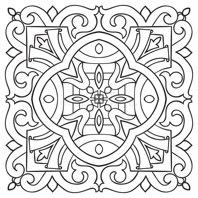 手图画瓦片葡萄酒黑色线样式 库存例证